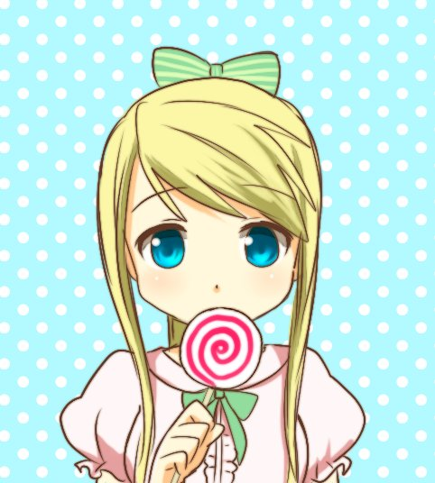anime, beautiful, beauty, blonde, blue, bow, candy, color, colorful, eyes, fan art, fullmetal alchemist, green, kawaii, lovely, pink, pretty, winry rockbell