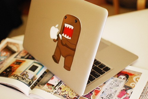 apple notebook, cute, domo, laptop, magazine