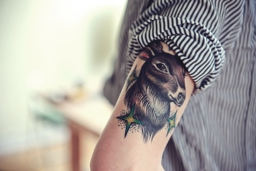 arm tattoo, body art, body modification, body modifications, deer tattoo