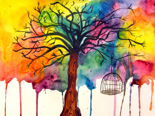 art, bird, birds, cage, color, colors, colour, doodle, free, illustration, pretty, rainbow, tree, trees, watercolor