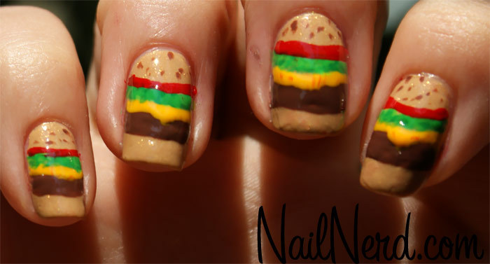 art, hamburger, nails