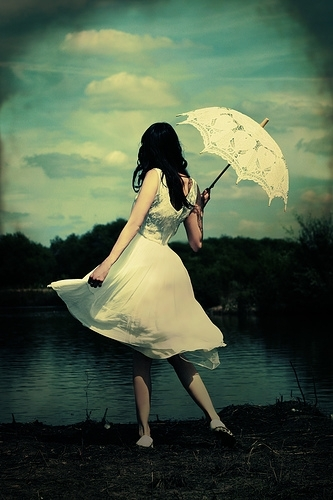 artistic, black hair, clouds, color, cross process, cts, dance, daniele amber, drak, dress, fashion, floresta, girl, lace, lake, legs, long white dress, parasol, pensando, photography, shadowy, skirt, sky, umbrella, vintage, water, white, white dress