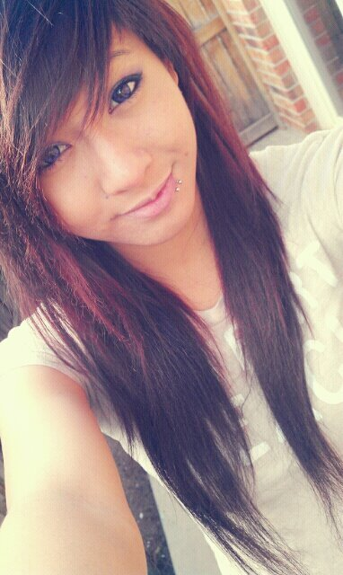 asian, asian girl, brownish red hair, circle lenses, cute