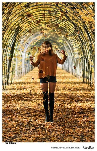 autum, girl, leaves, legs, model, pretty, skinny, socks