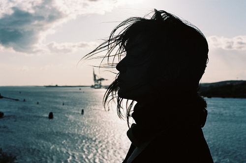 awesome, bay, cool, cute, fashion, girl, good, makeup, model, ocean, photo, pretty, sexy, silhouette, style, sunset, water, windy