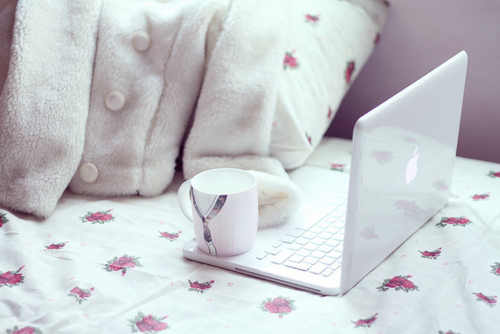 awesome, beautiful, bed, cloth, cup, cute, floral, glass, mac, pastel, pillow, pretty, stuff, technology, vintage, white