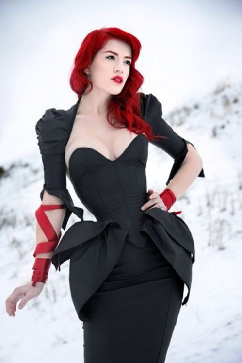 awesome, black, black corset, corset, hair, maritza, peplum, red, red hair, ribbon, snow