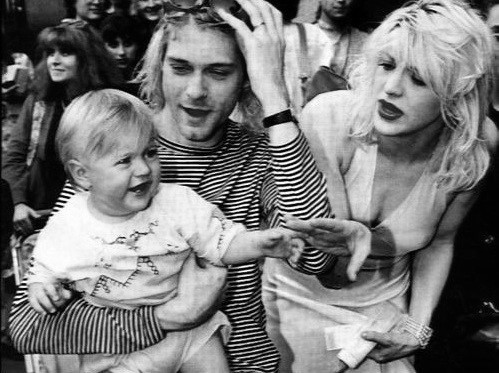 baby, black and white, courtney, kurt, kurt cobain