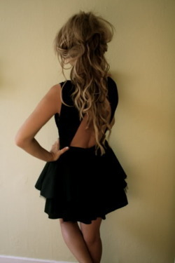 back, black, black dress, blonde, cutout