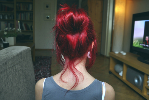 back of head, bun, cute, dyed hair, girl, hairstyle, messy bun, readhead, red hair, red head