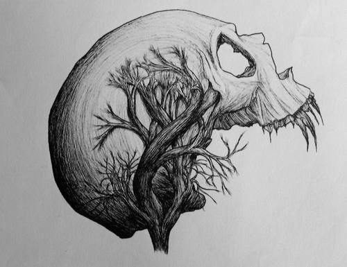 background, cute, draw, illustrator, ohgabriellima, skull, tree