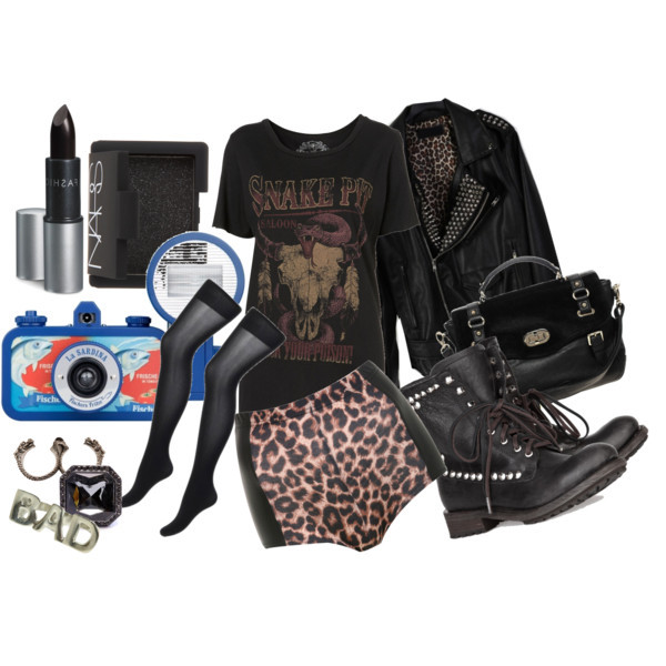 bad, bad girl, black, black lipstick, camera, fashiom, hot pants, jacket, leather jacket, leopard, lomo, moda, polyvore, rock and roll, rock n roll, rocker
