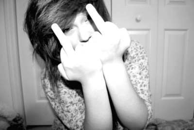 badass, black and white, cute, girl, middle finger