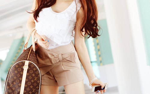 bag, beige, brunette, fashion, high waist