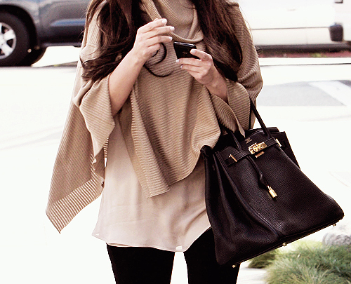 bag, birkin, blackberry, brunette, fashion, girl, hair, hermes, kim kardashian, phone, poncho, purse