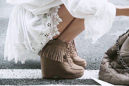 bag, brown, clothes, clothing, dress, fashion, heels, high heels, indian, inspiration, lace, leather, legs, ruffle, shoes, style, summer, white