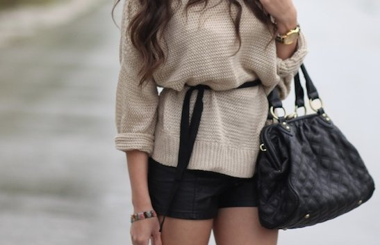 bag, fashion, girl, knitwear, shorts, style