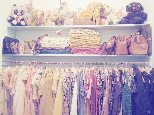 bags, closet, clothes, cute, girl, plushies, walk-in