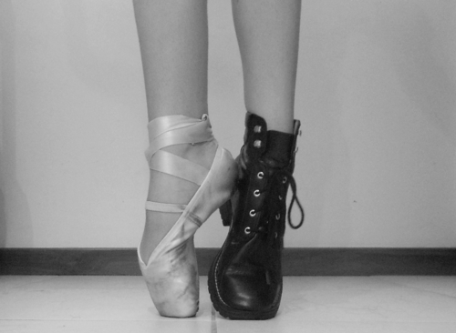 ballerina, ballet, ballet shoe, black and white, cool