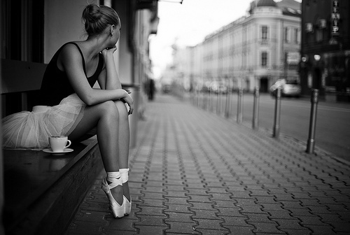 ballet, black and white, city, coffe, dancer