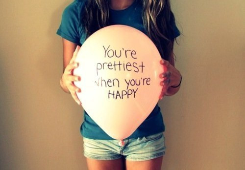 balloon, girl, happy, pretty, quote