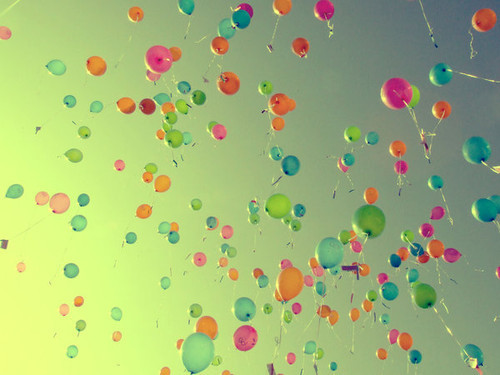 balloons, colourful, cute, sky, style