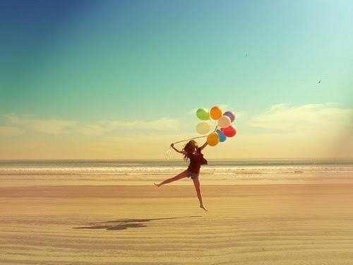 baloons, beach, colors, colours, fly, free, girl, happy, jump, sea, summer