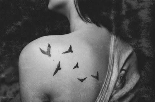 B Amp W Back Birds Black And White Girl Image 276292