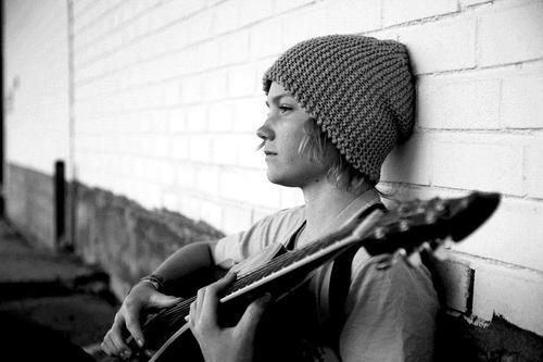 b&amp;w, black and white, boy, cute, guitar