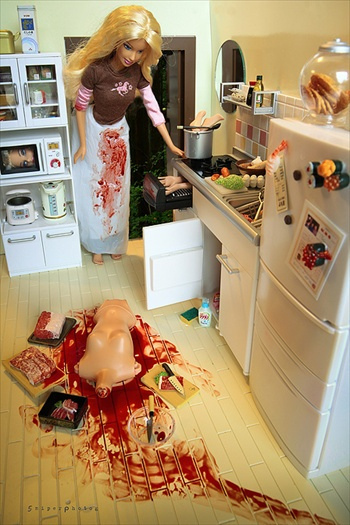 barbie, food, funny, kill