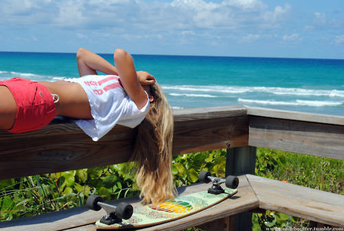 beach, blonde, blue, cool, cute, fashion, girl, good, long board, long boarder, makeup, model, ocean, photo, pretty, sexy, shorts, style, summer, thin