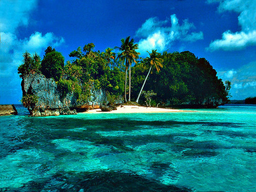 beach, blue, clouds, island, nature