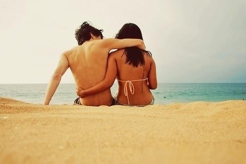 beach, boy, couple, girl, hug, love, relationship, sea, tatto
