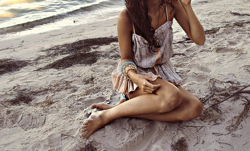 beach, brown, fashion, gir, hair, outfit, photoraphy, style