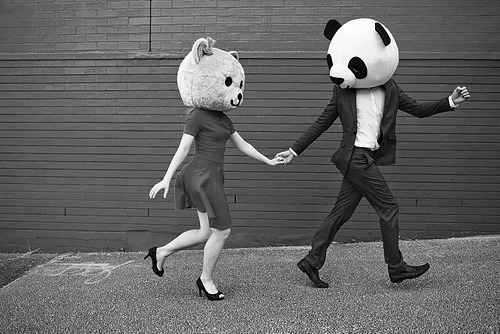 bear, black and white, boy, couple, cute, girl, panda, photography, run