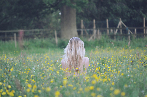 beatiful, blonde, cute, flowers, girl, hair, ice, nice, yellow