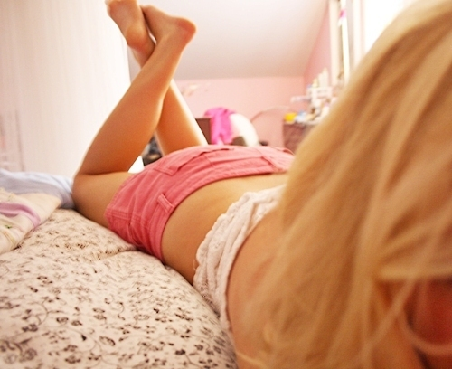 beautiful, bed, blonde, body, girl, hair, legs, pink, room, sexy, shorts, skinny, thin