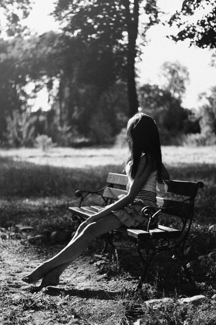 beautiful, bench, dress, girl, hair, light, park, pretty, sad, sunlight, trees