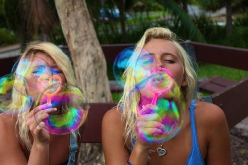 beautiful, best friends, big, blonde, blowing