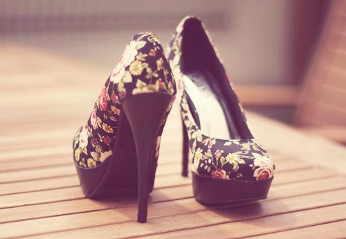 beautiful, black, cute, fashion, floral, girl, heels, high heels, lomo, pastel, shoes, stuff, vintage