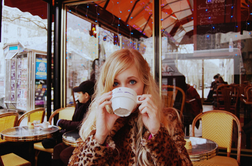 beautiful, blonde, cafe, coffee, cute, fashion, girl, hair, lights, photography