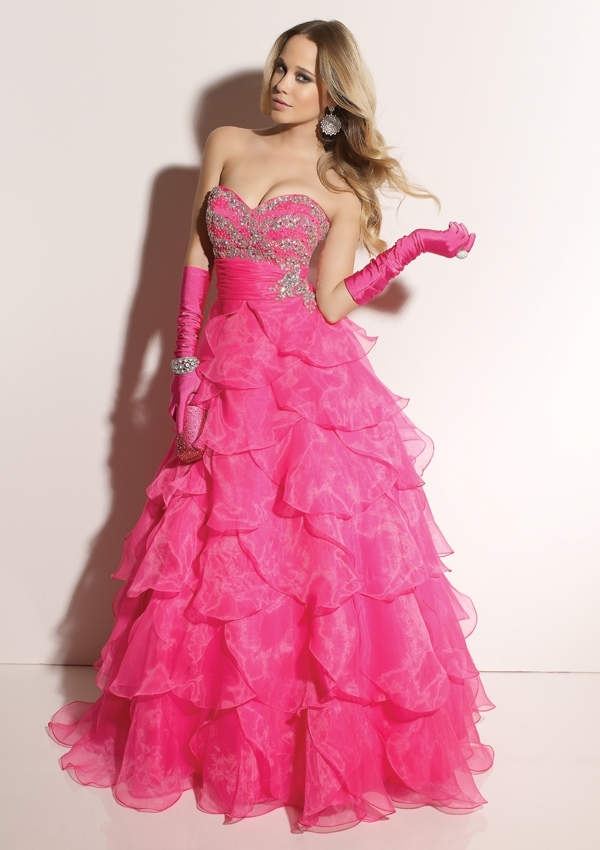 beautiful, blonde, dress, pink, prom