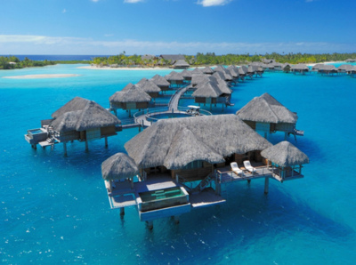 beautiful, blue, clear, hut, paradise