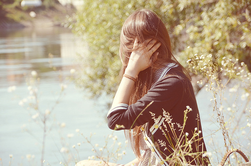 beautiful, brown, fashion, girl, hair, long hair, natural, nature, pastel, river, tree, vintage