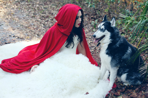 beautiful, cosplay, dress, girl, photography, red cape, red riding hood, wolf