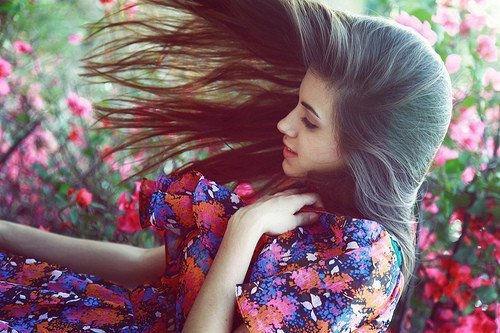 beautiful, cute, dress, flowers, forest, garden, girl, hair, naturally, nature, peace, picnik, women