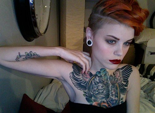 beautiful, cute, girl, hair, orange, plugs, pretty, sidecut, tattoo, tattoos, undercut