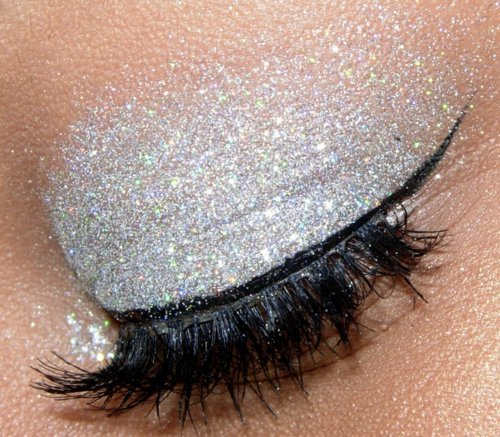 beautiful, eye, eyelashes, eyeliner, eyes, glitter, lashes, love, makeup, pretty, silver, sparkle, white