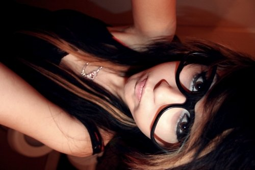 beautiful, eyes, girl, glasses, hair