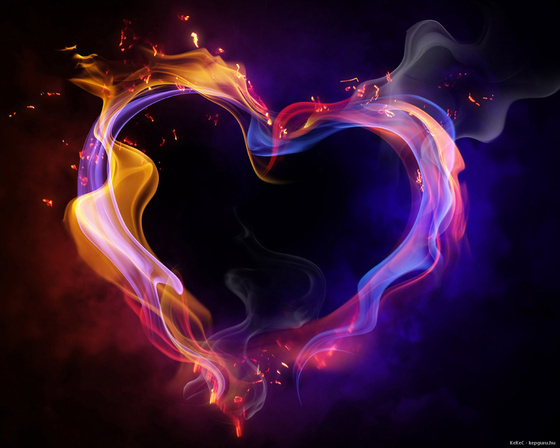 beauty, blue, colorful, fire, heart